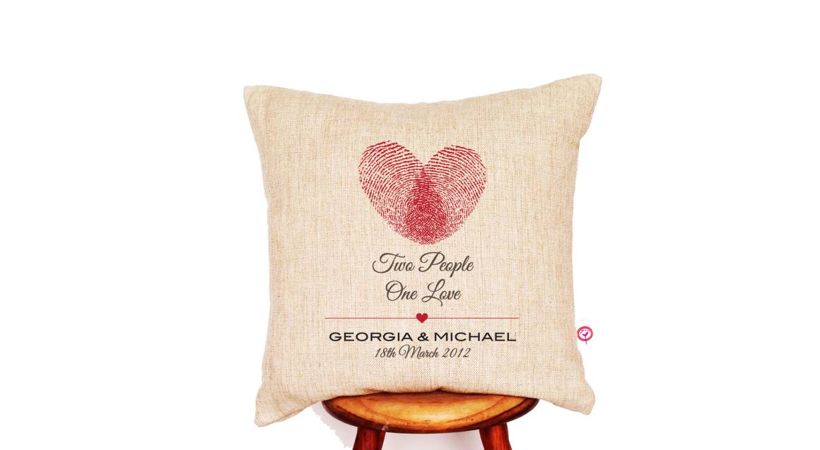 """""""Two People One Love"""" Personalised Linen Cushion Cover"""