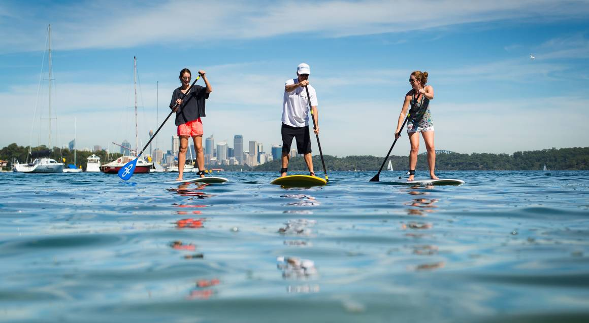 women stand up paddle boarding on sydney harbour