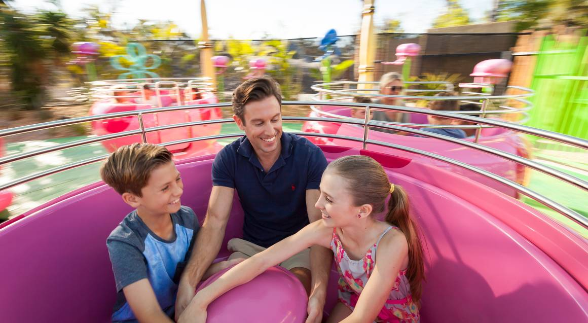 sea world family on spin coaster ride