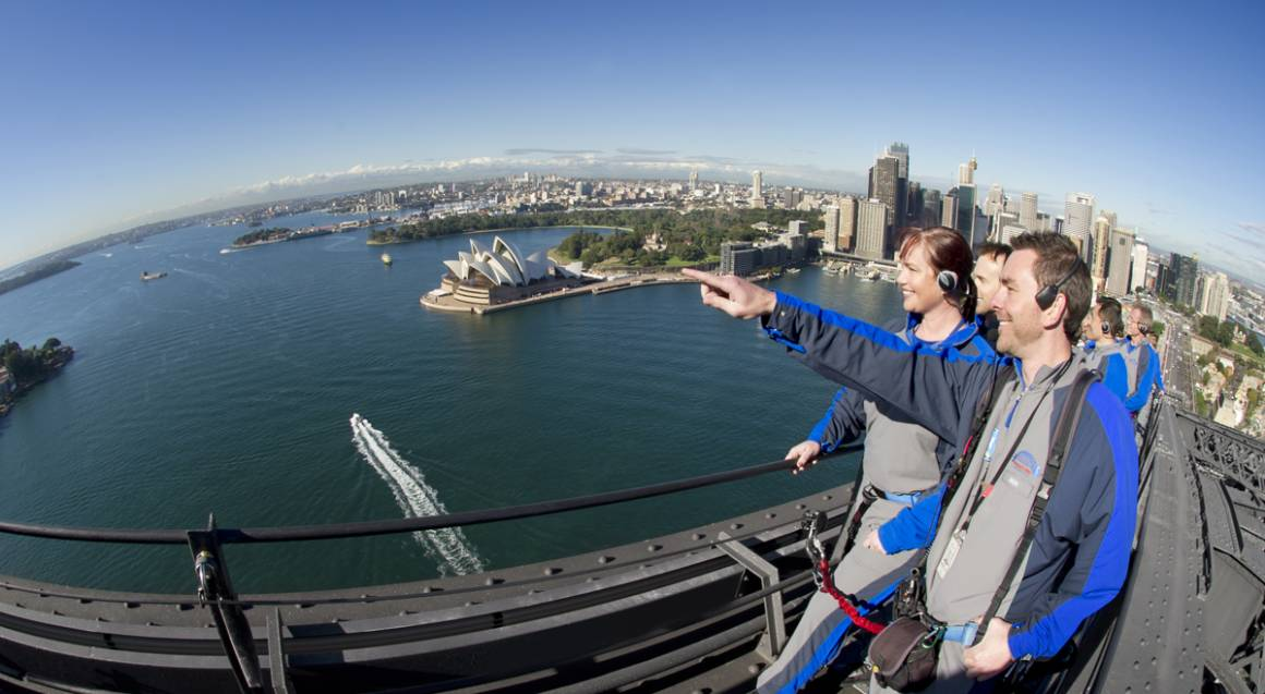 People on the Sydney Harbour Bridge with aerial view of Sydney in the background