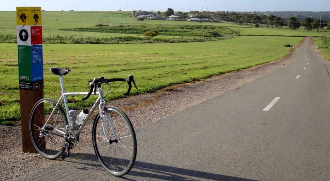 bike on side of road in mclaren vale