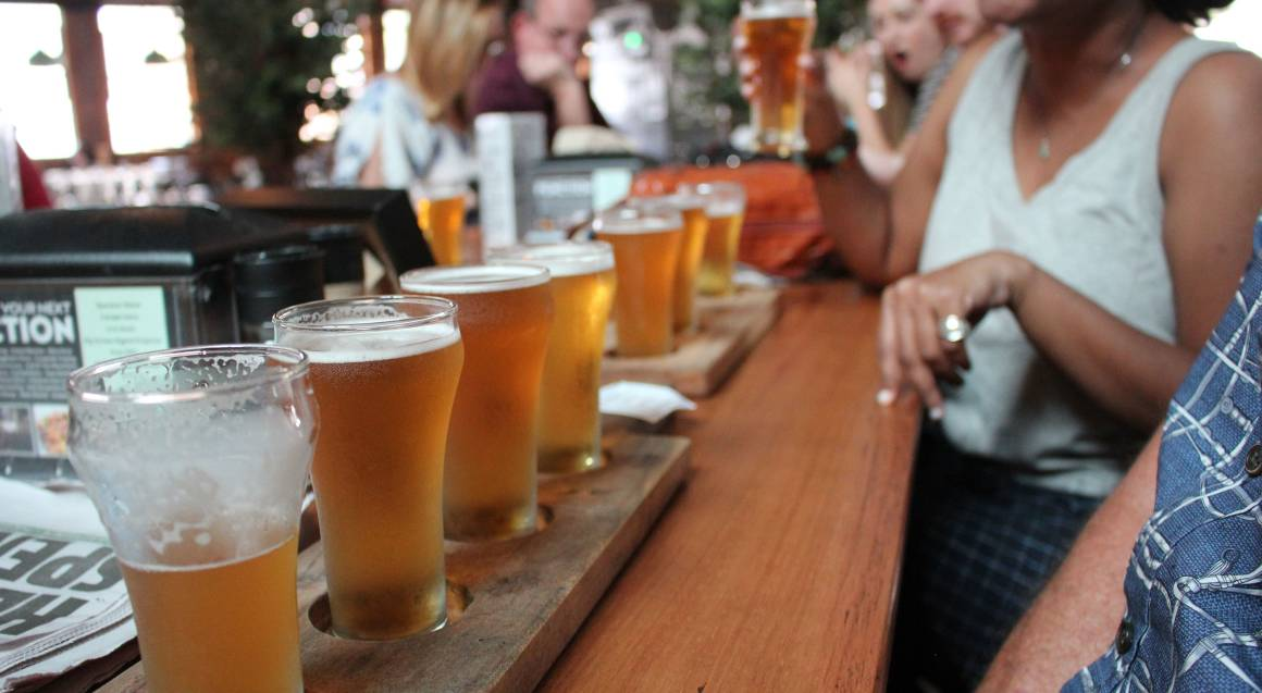 beer paddle lined up on bar hunter valley