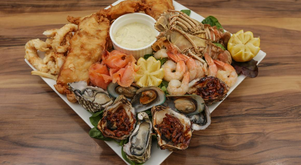 Gourmet Seafood Platter with a Bottle of Wine