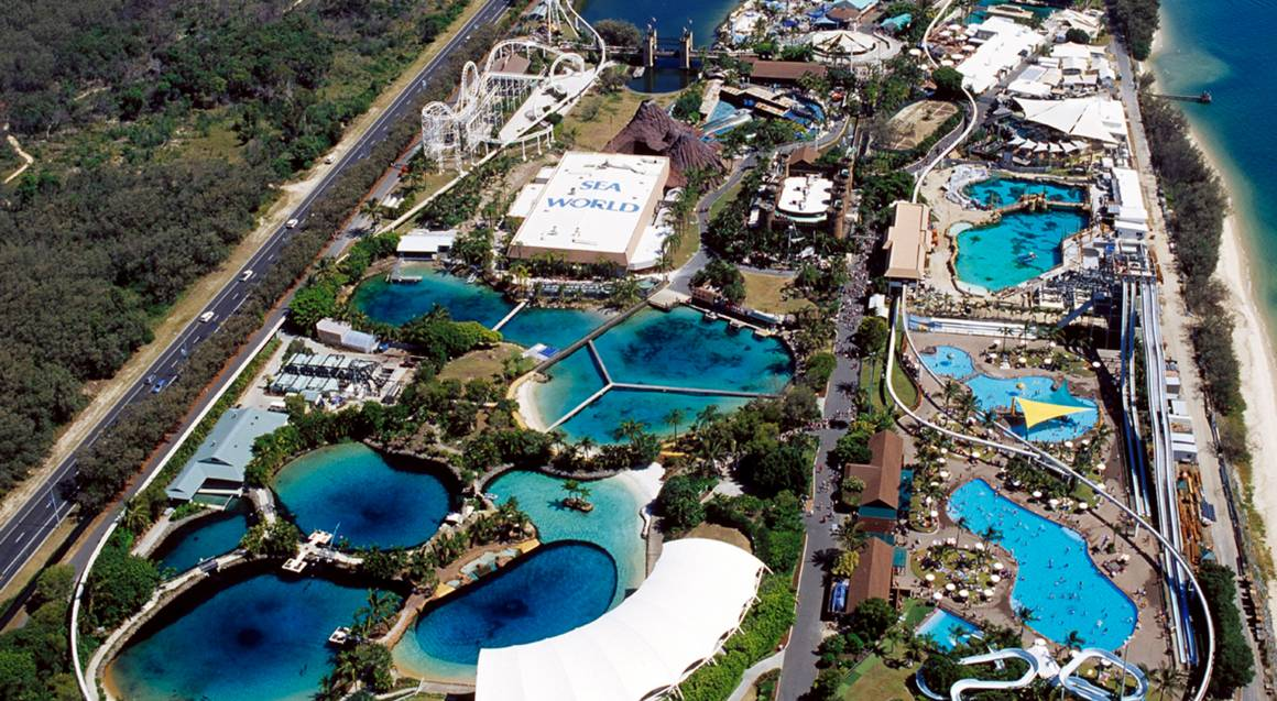 Sea world gold coast aerial view of park