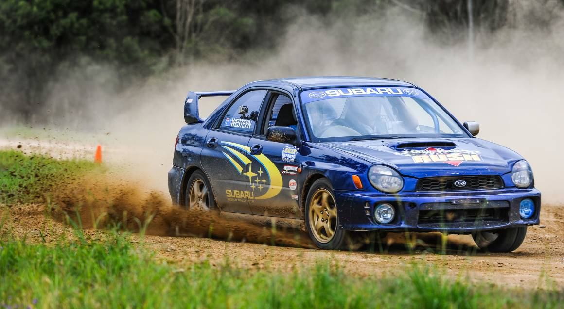 WRX Rally car driving on wanneroo race track