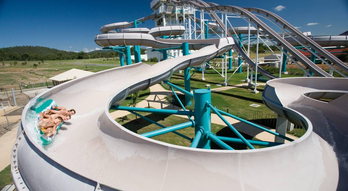 family on water slide at wet n wild gold coast