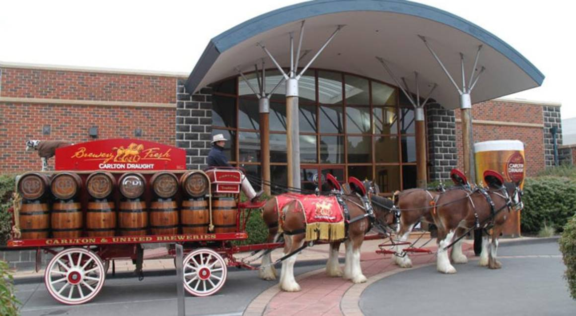 Carlton Brewhouse Victoria outside view with horse and carriage