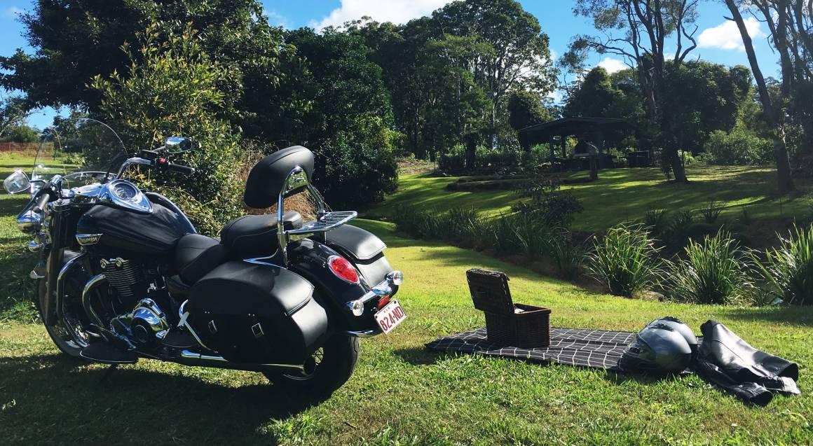 Sunshine Coast Motorcycle Cruise Hire Red and black Triumph bike