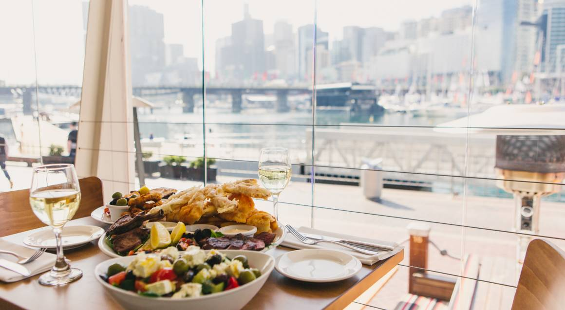 waterfront mediterranean dining three course feast with two glasses of wine