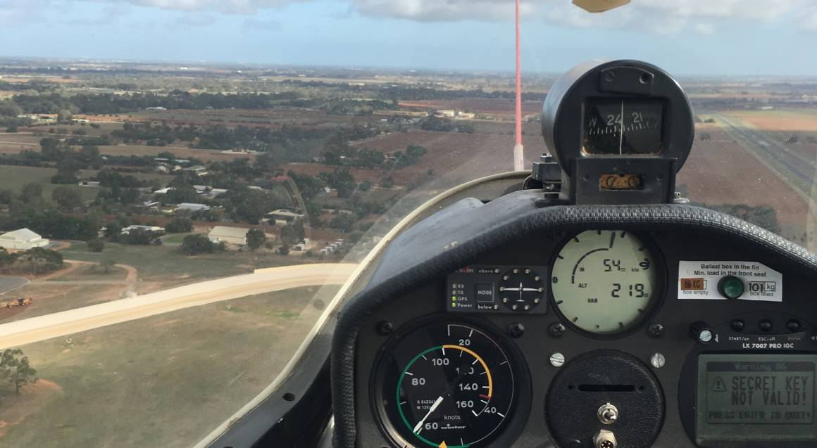 view from the cockpit in glider plane