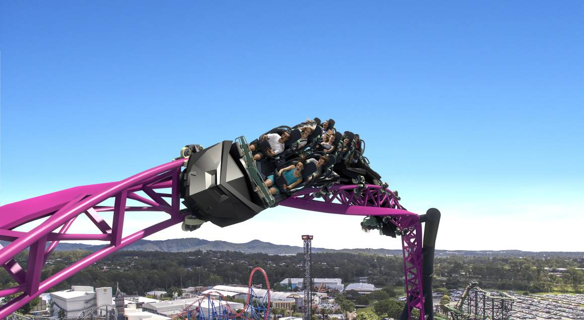 people on roller coaster at movie world gold coast