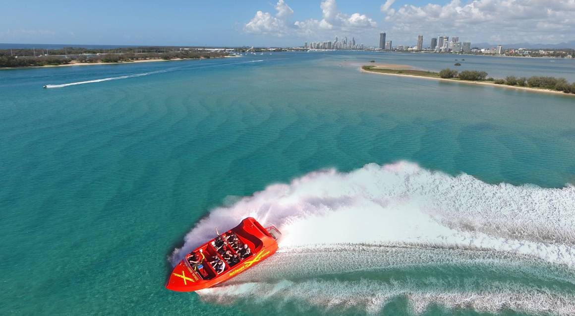 jet boat ride surfers paradise gold coast aerial view