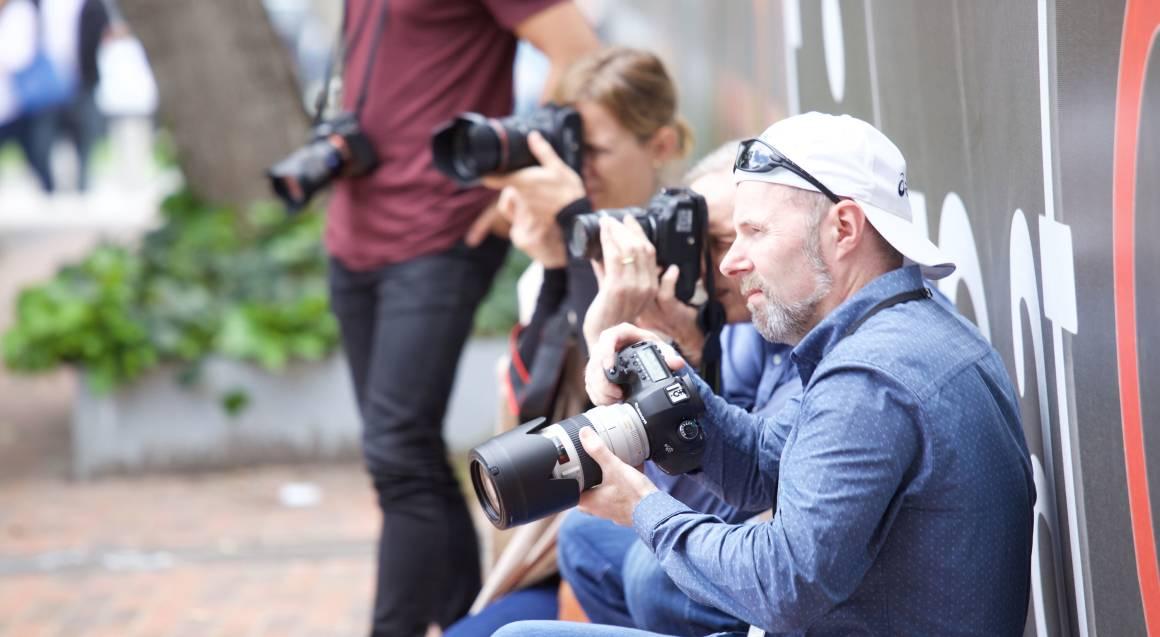 The Aperture Club group taking photos circular quay
