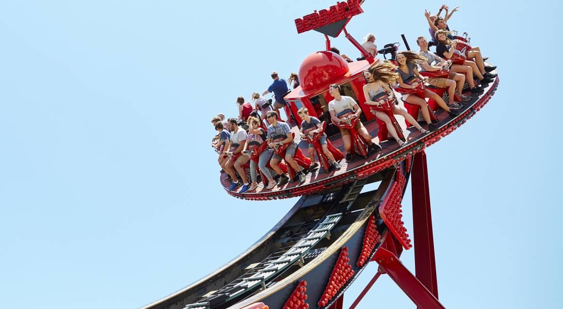 Aussie World people on rollercoaster ride