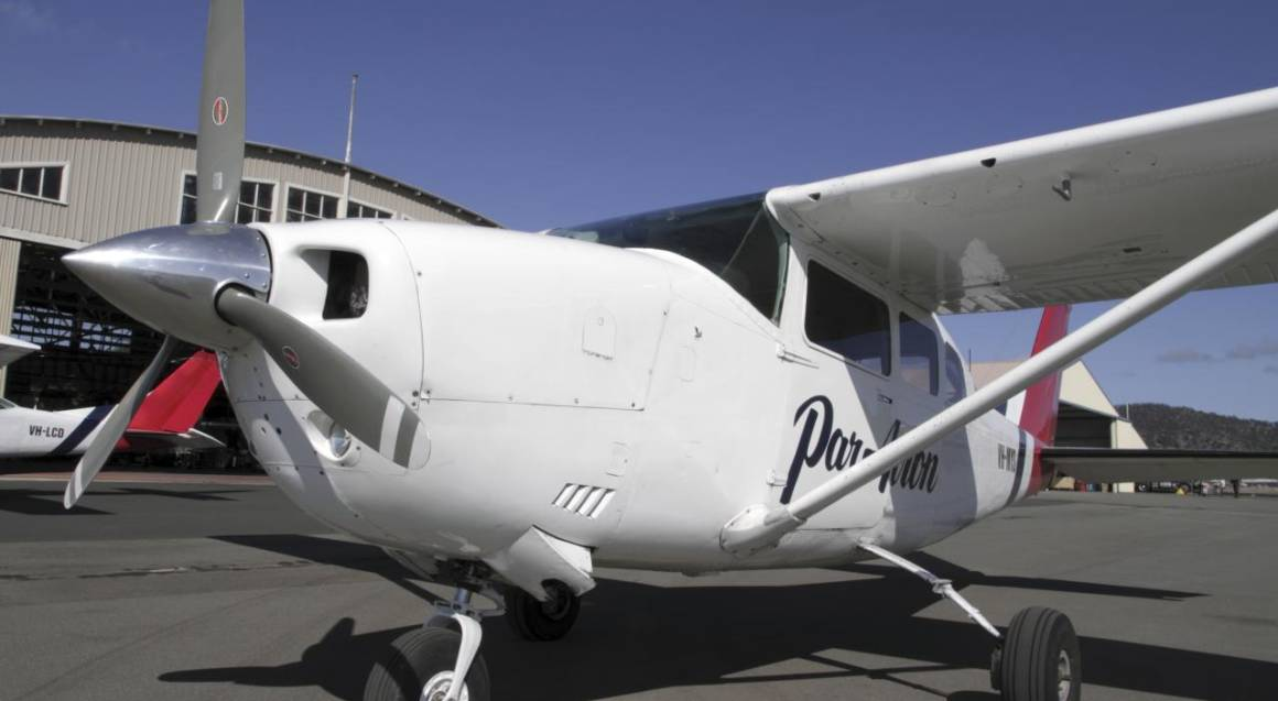 up close photo of front of modern training aeroplane
