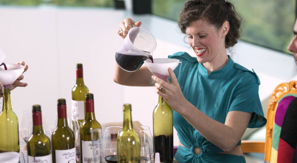 woman blending wine at d'arenberg winery