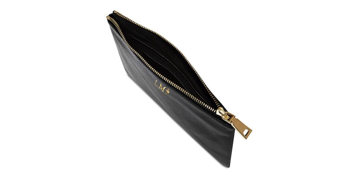 Mon Purse Monogrammed Grainy Leather Pouch - Black