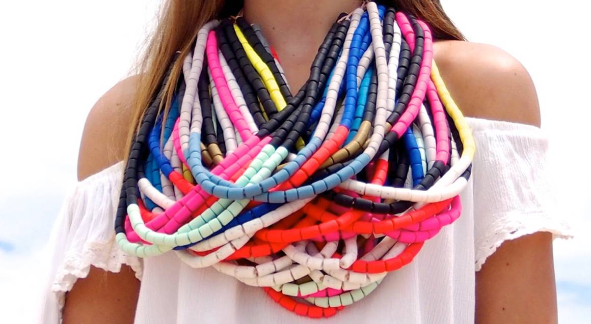 Polymer Clay multicoloured beaded statement necklace