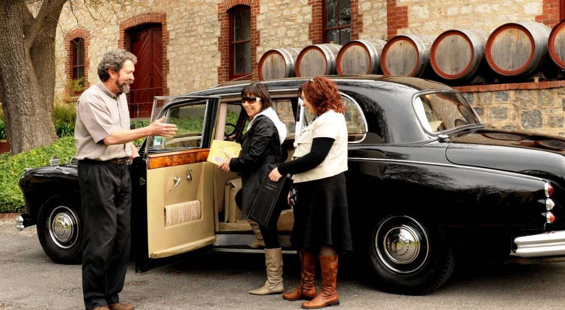 Barossa Daimler Tours women enjoying private car tour barossa valley wine