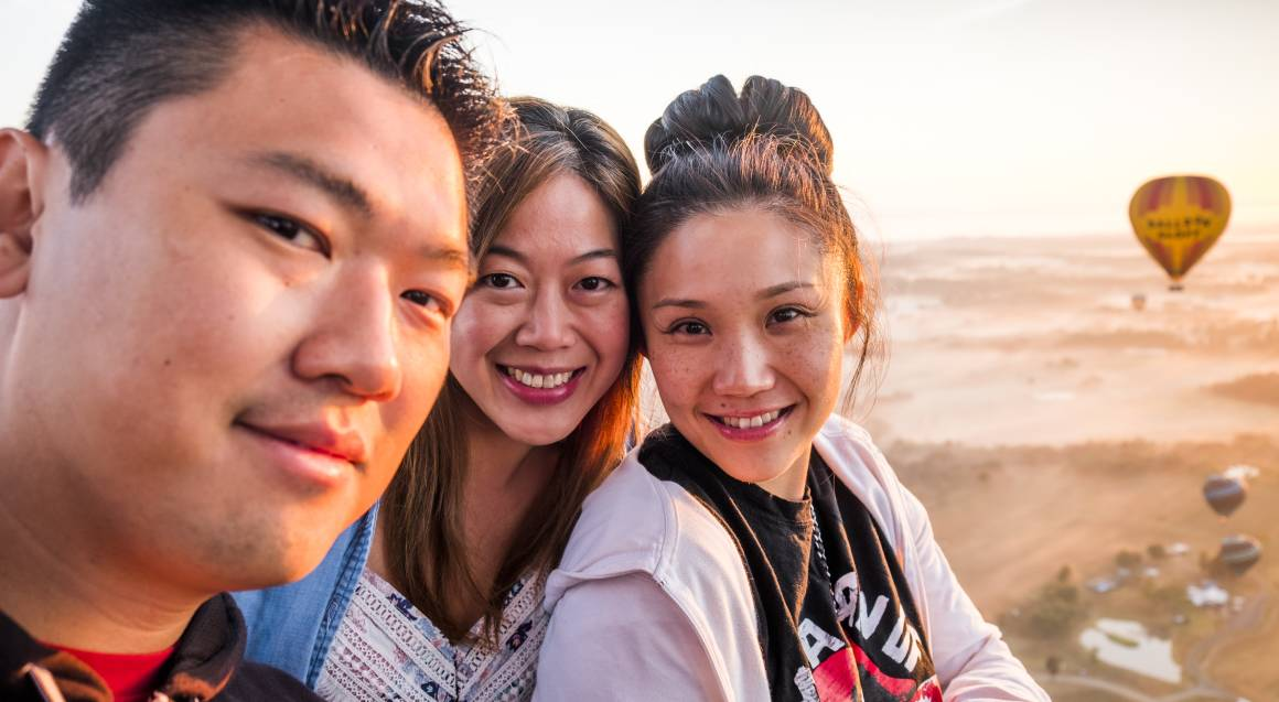 Hot Air Ballooning Over The Hunter Valley guests taking selfie