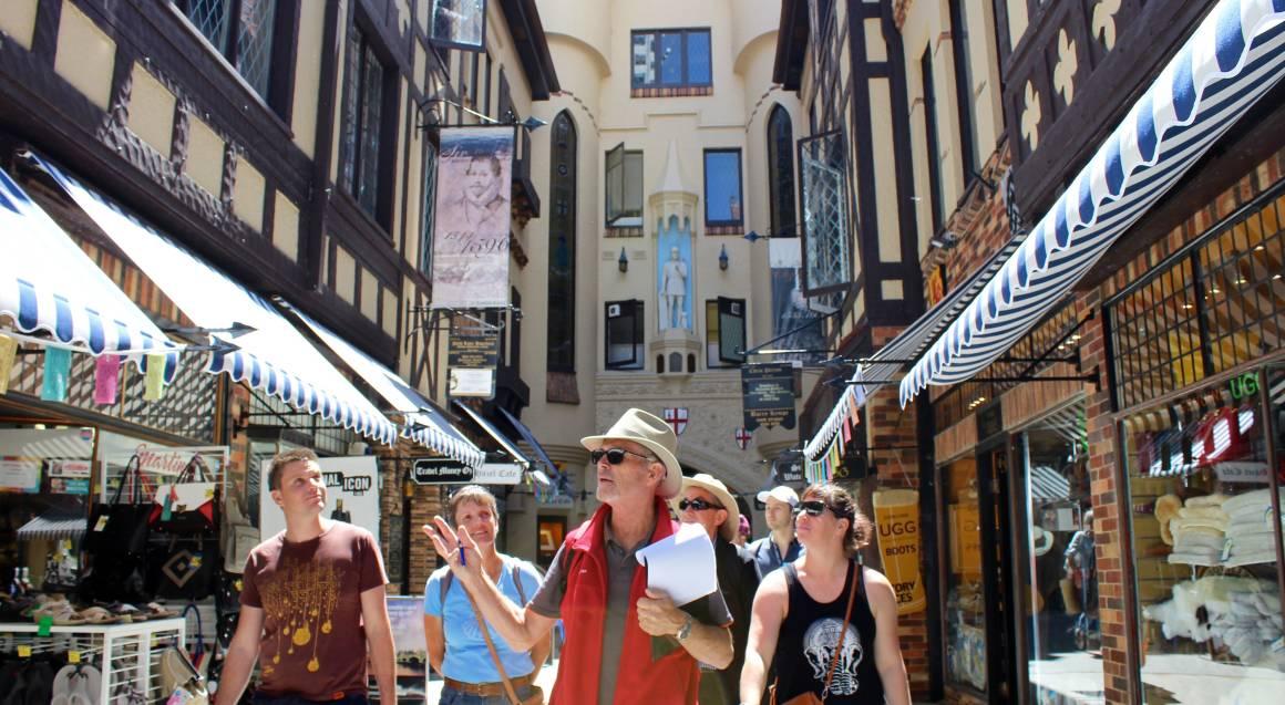 tour group walking down a laneway in Perth
