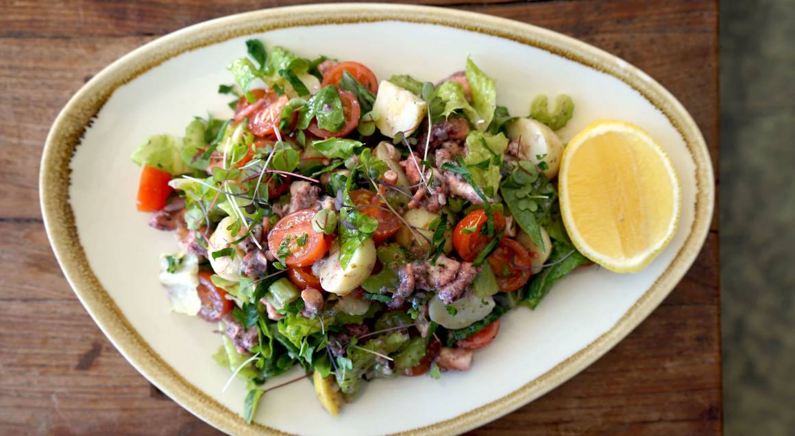 italian octopus salad with lemon