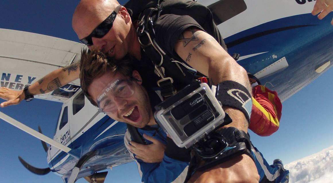 woman and instructor tandem skydiving over picton