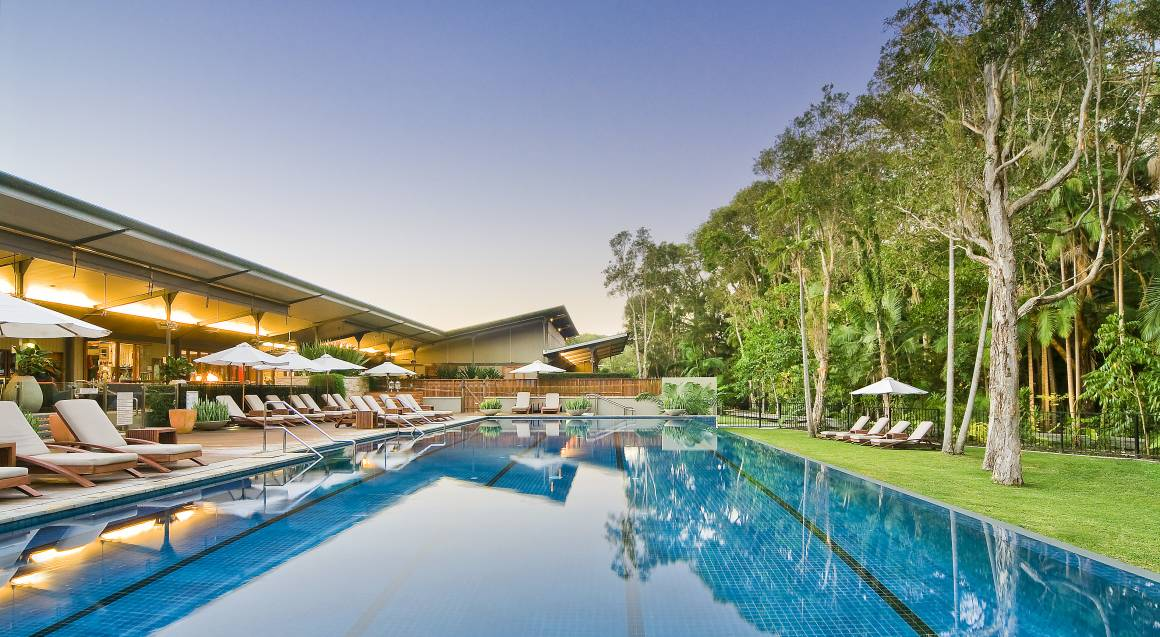 resort pool surrounded by trees and sun lounges with blue sky in the background