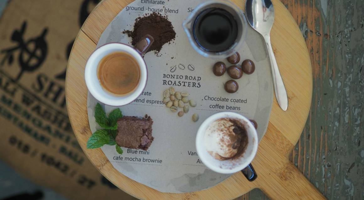 selection of coffees laid out on a table