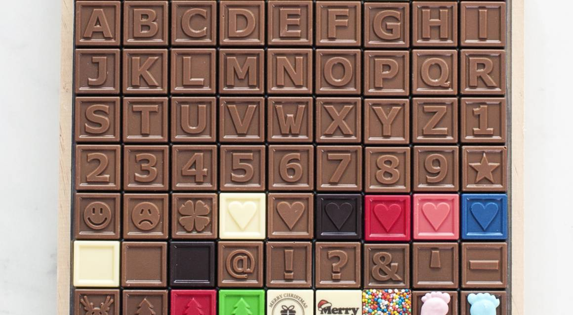 Personalised Chocolate Message in Wooden Box - 60 Characters