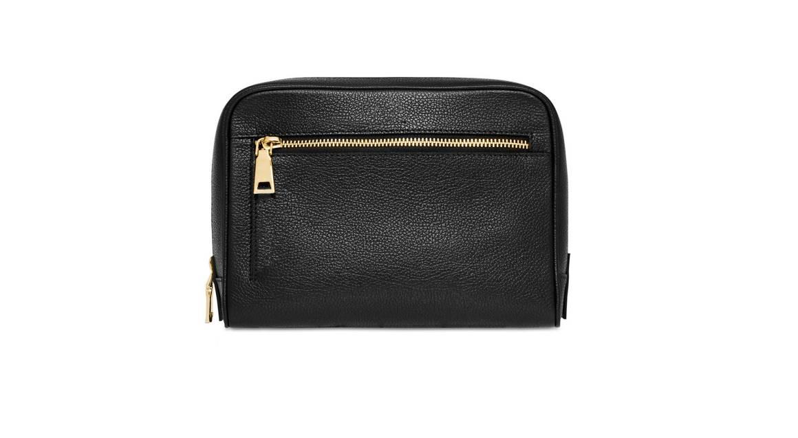 Mon Purse Monogrammed Grainy Leather Wash Bag - Black