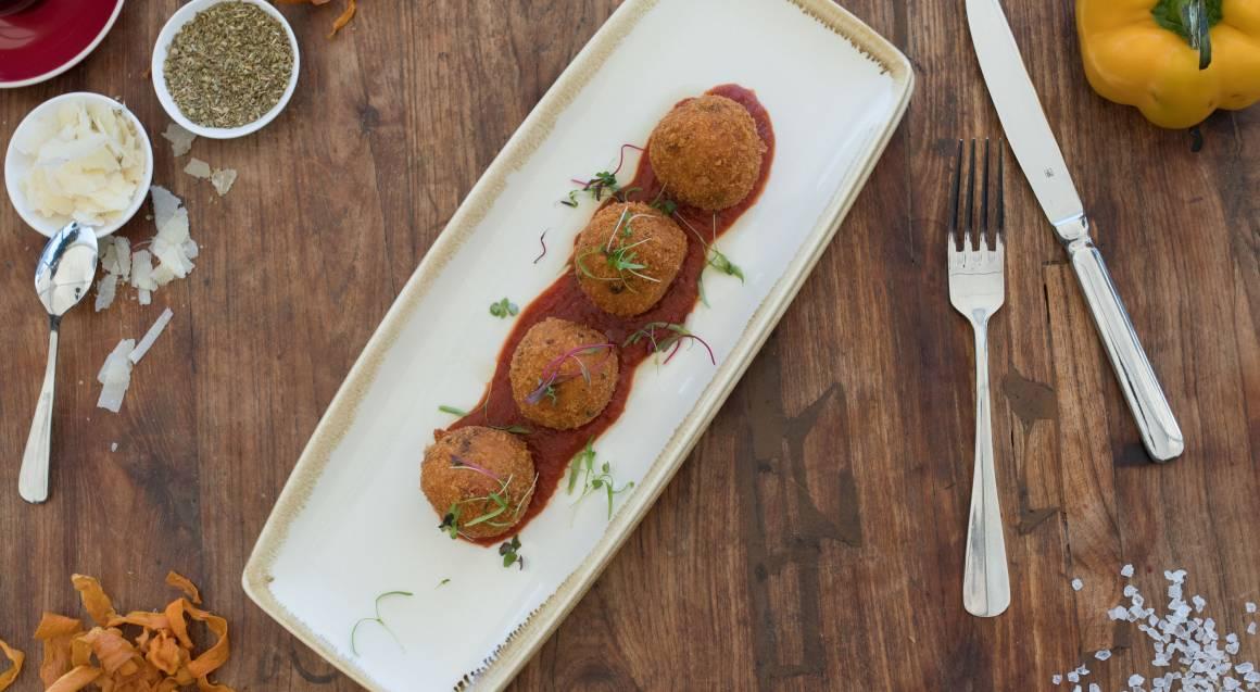 italian arancini balls on plate