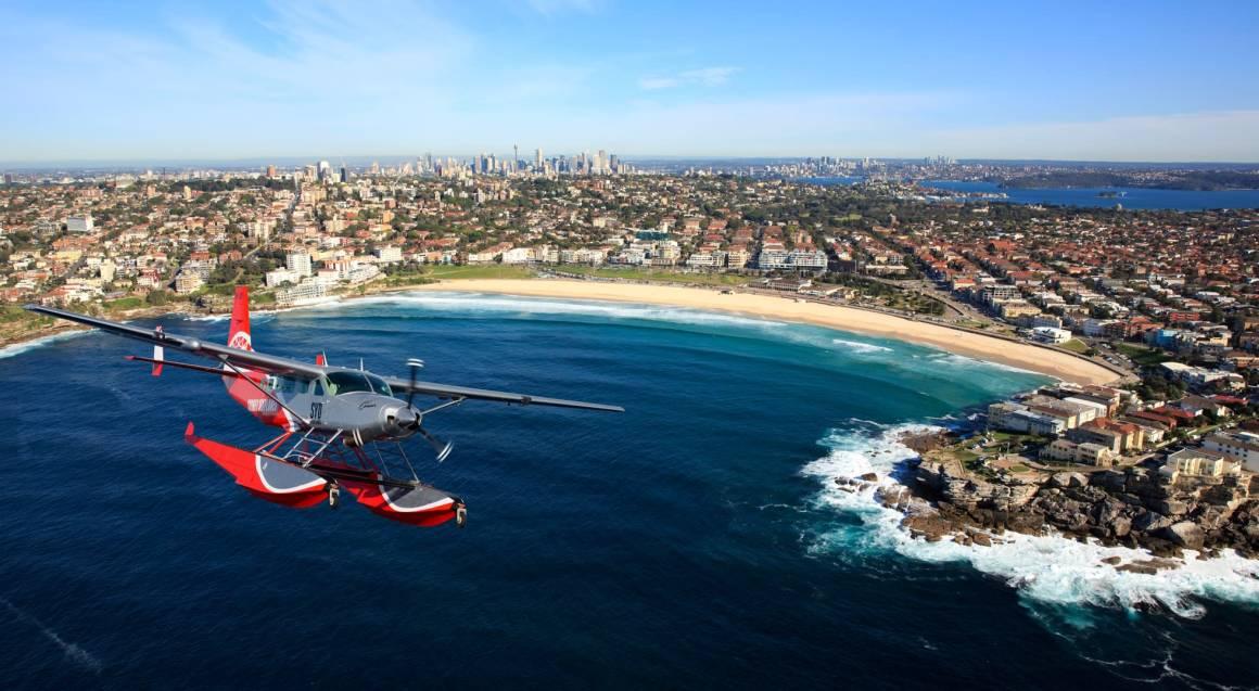 Seaplane aerial view of sydney