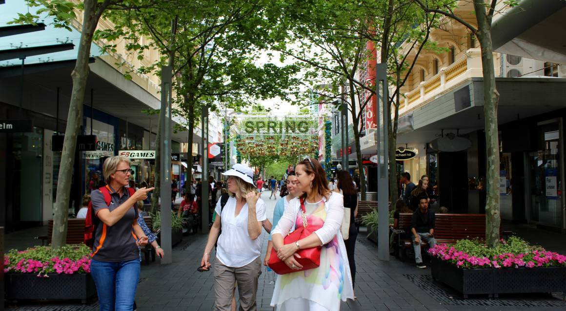 tour group walking down a Perth street
