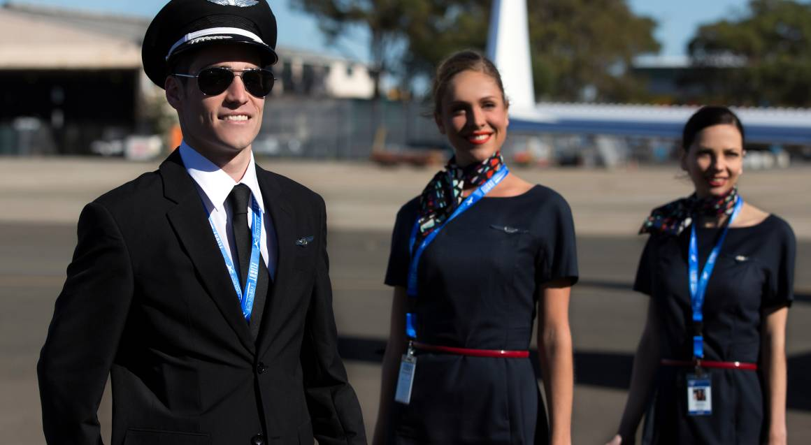 flight simulator melbourne pilot and flight attendants in uniform
