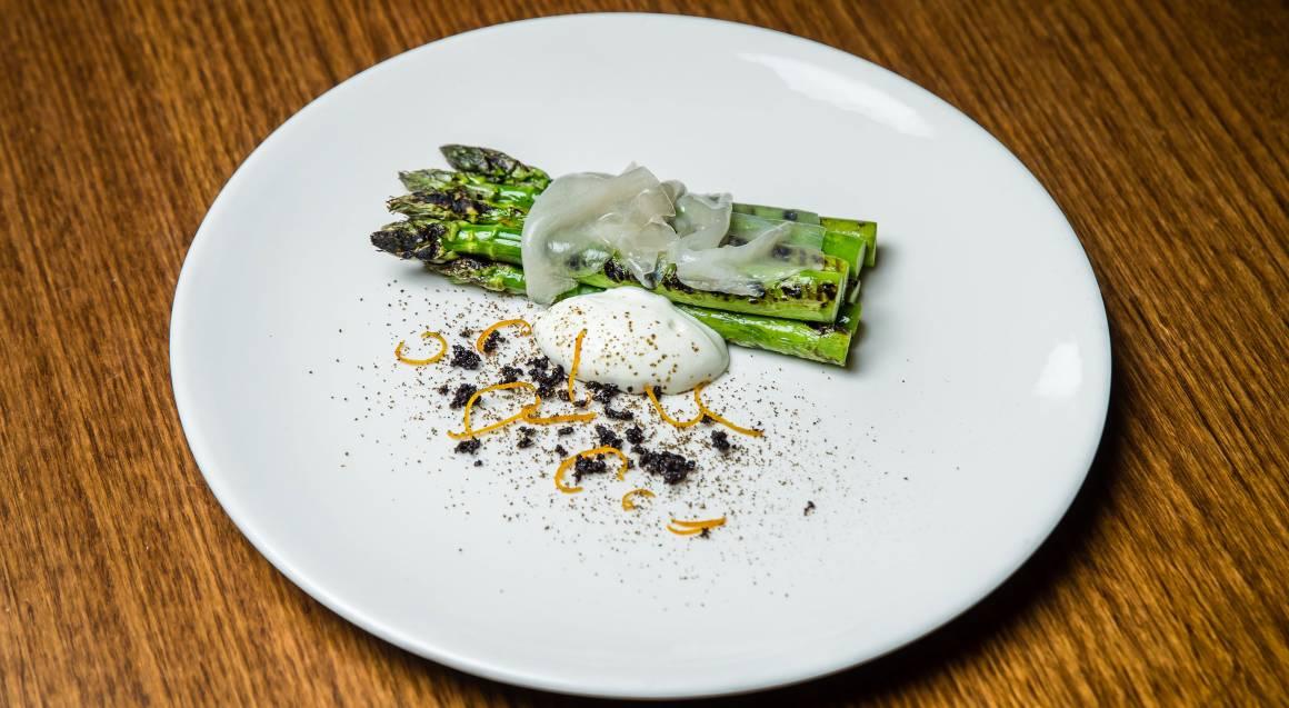 grilled asparagus dish anata restaurant