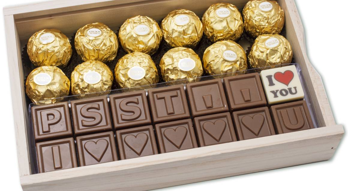 Personalised Chocolate Message and Ferrero Rocher Gift Pack