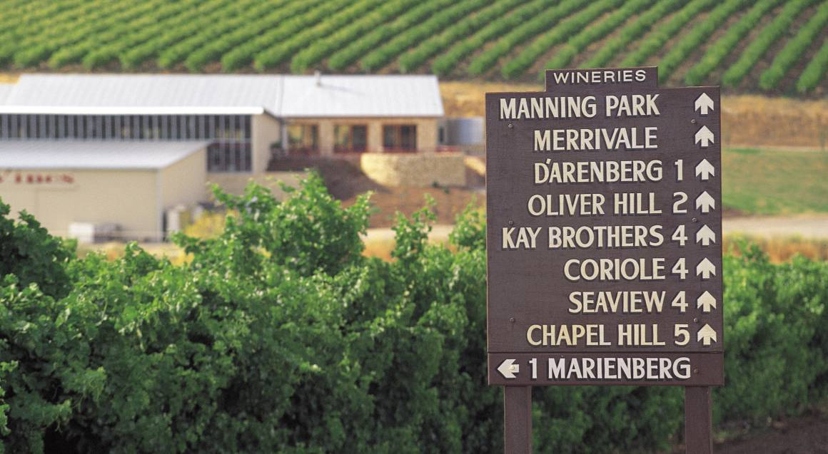 mclaren vale wineries sign on side of road