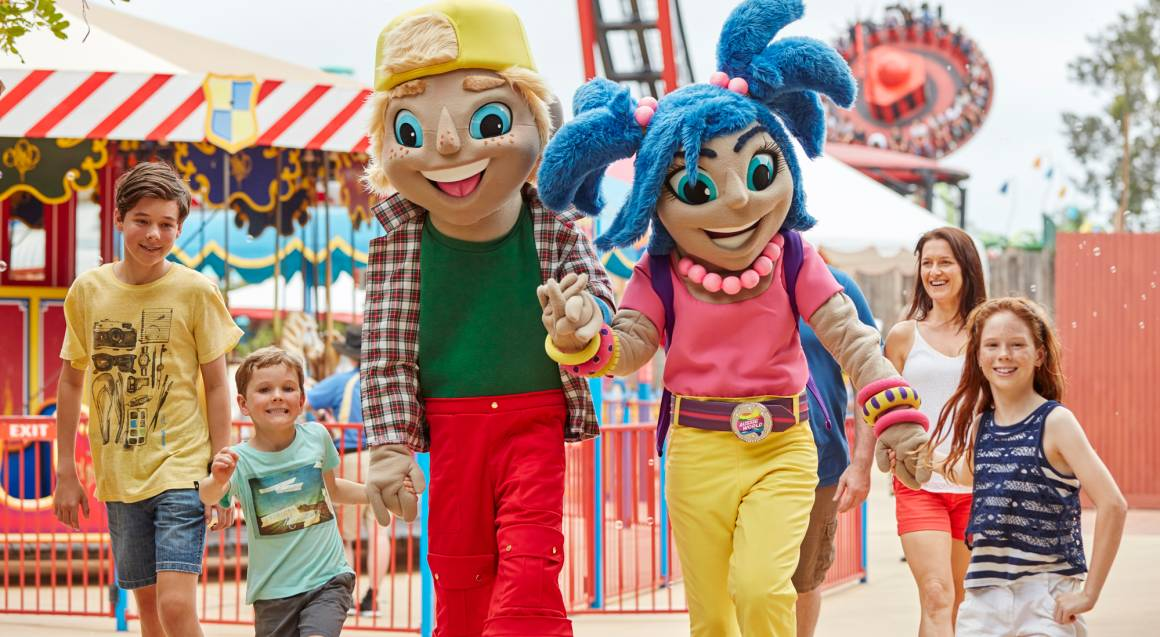 Aussie World kids with fun park characters