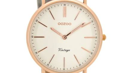 RedBalloon OOZOO C8166 - 40mm Vintage Style Slimline Watch - Rose Gold/Stone Grey