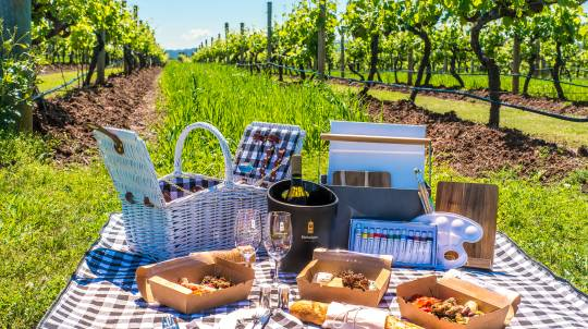 Winery Tour with Tasting, Picnic Hamper and Painting Kit