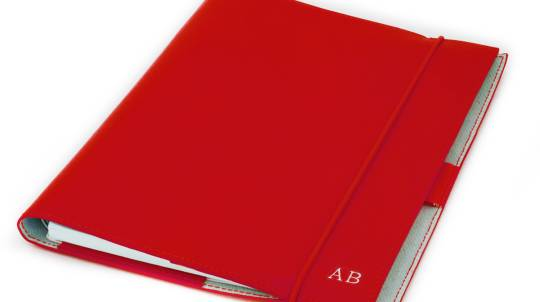 Red Personalised Leather Journal and Business Card Holder