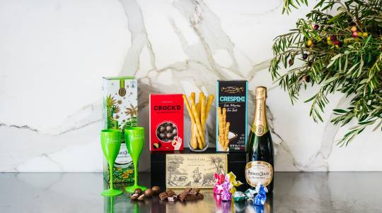 Perrier-Jouet Champagne with Flutes and Chocolates