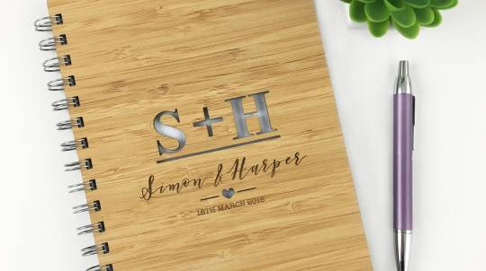 Bamboo Notebook with Personalised Couples' Initials