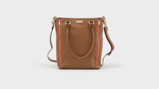 Oversized Leather Tote Bag - Caramel