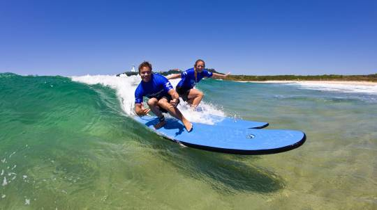 Beginners Group Surfing Lesson in Byron Bay
