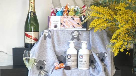 Baby Gift Hamper with Mumm Champagne and Chocolates