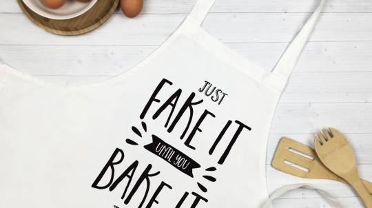 "Personalised ""Fake It Until You Bake It"" Apron"