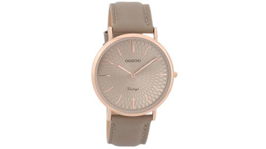 Slim Rose Gold Watch with Taupe Leather Strap
