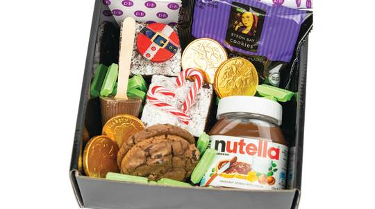 Christmas Gift Box with Nutella, Brownies and Hot Chocolate